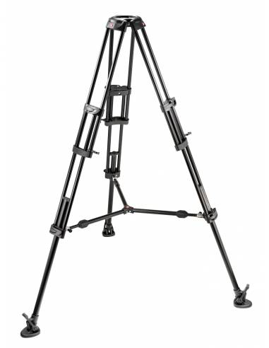 Manfrotto - Trípode de video PRO 545B. Patas dobles. Para semiesf.100. Aluminio con estabilizador a media altura