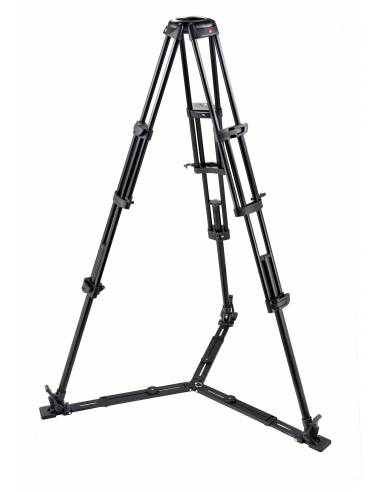 Manfrotto - Trípode de video PRO 545GB. Patas dobles. Para semiesfera 100. Aluminio con estabilizador a ras de suelo