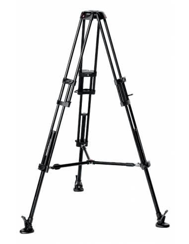 Manfrotto - Trípode de video PRO 546B. Patas dobles. Para semiesfera 75. Aluminio con estabilizador a media altura