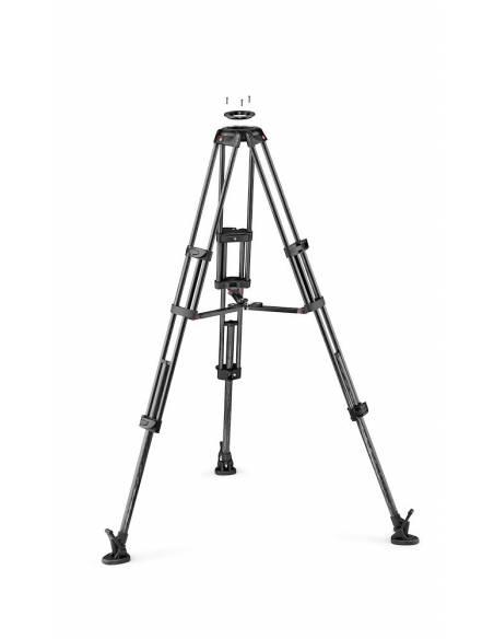 Manfrotto - Trípode de vídeo con patas dobles. Para semiesfera 100/75 Carbono. Estabilizador a media altura