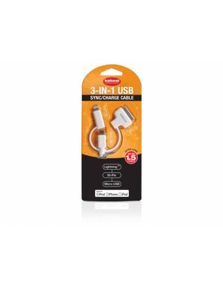 Hähnel - Cable USB 3-en-1 Sincro/Carga