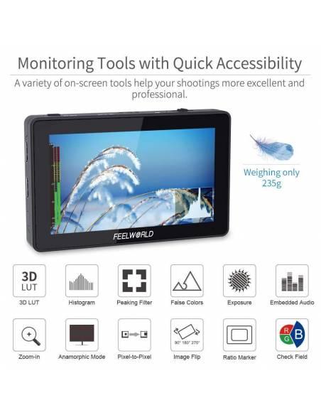 "FEELWORLD F6 PLUS monitor 5.5"" táctil 4K"
