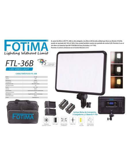 FOTIMA Panel Micro LED FTL-36B Bicolor + 2 bat. F750 +Carg.