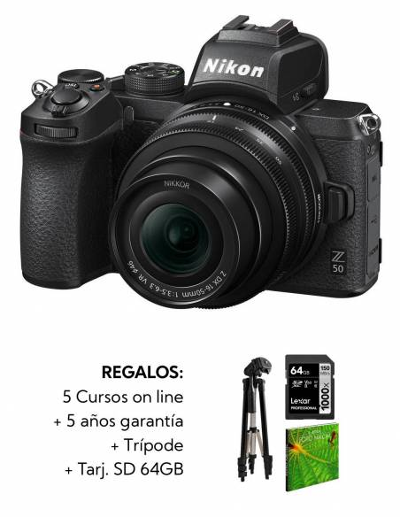 NIKON Z50 +16-50mm VR F3.5-6.3 + Kit: SDXC 64GB X1000 + trípode + 5 cursos