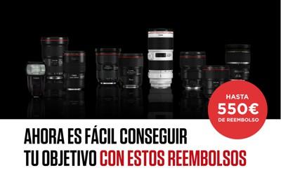 Hasta 550€ de reembolso en objetivos Canon